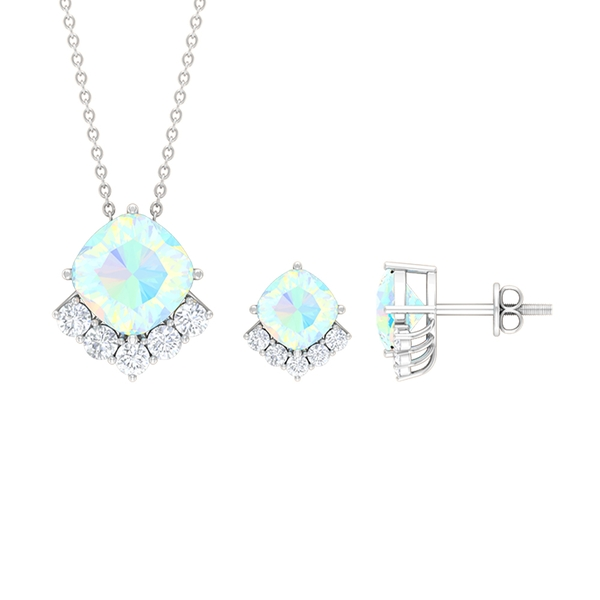 5 CT Cushion Cut Ethiopian Opal Solitaire and Diamond Accent Jewelry Set