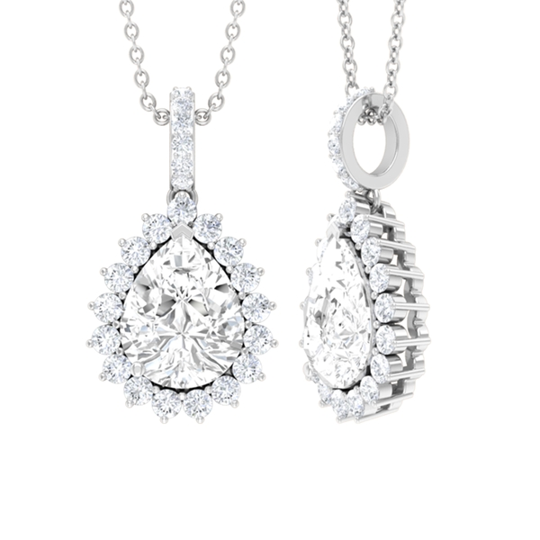 3 CT Pear Cut White Sapphire Drop Pendant Necklace with Moissanite Accent