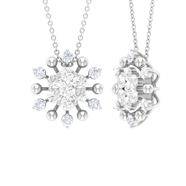 1.74 CT White Sapphire Flower Cluster Pendant Necklace