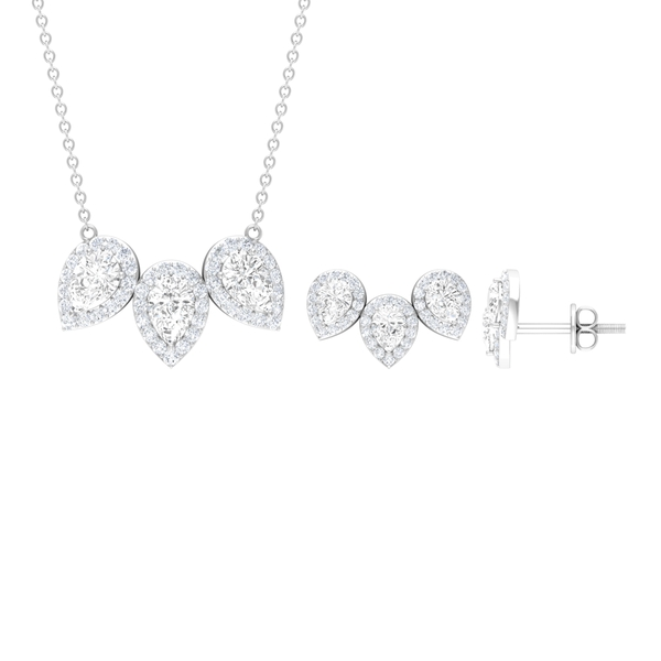 April Birthstone - 4 CT White Sapphire Three Stone Necklace with Halo
