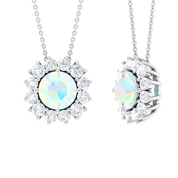3/4 CT Round Cut Ethopian Opal and Moissanite Halo Pendant Necklace