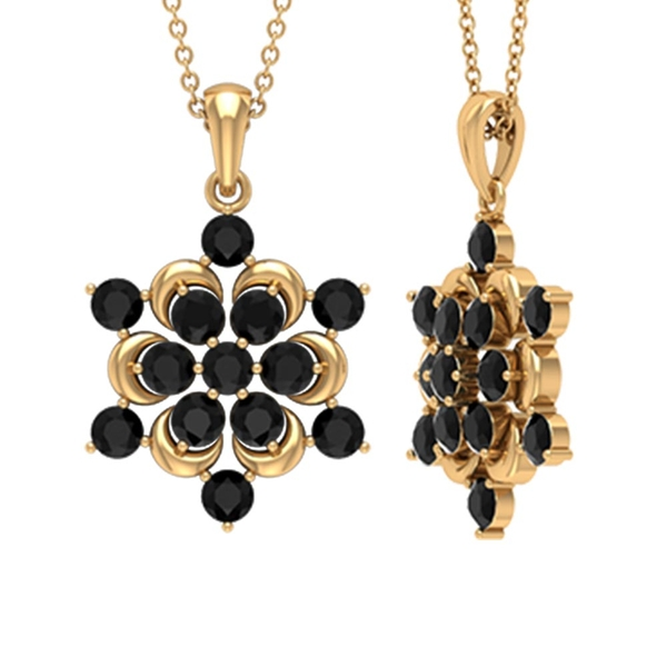 1.50 CT Contemporary Gold Flower Pendant Necklace with Black Diamond