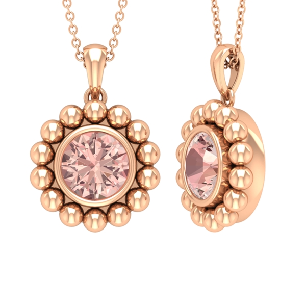 3/4 CT Morganite Solitaire and Gold Beaded Pendant Necklace