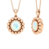 3/4 CT Ethopian Opal Solitaire and Gold Beaded Pendant Necklace