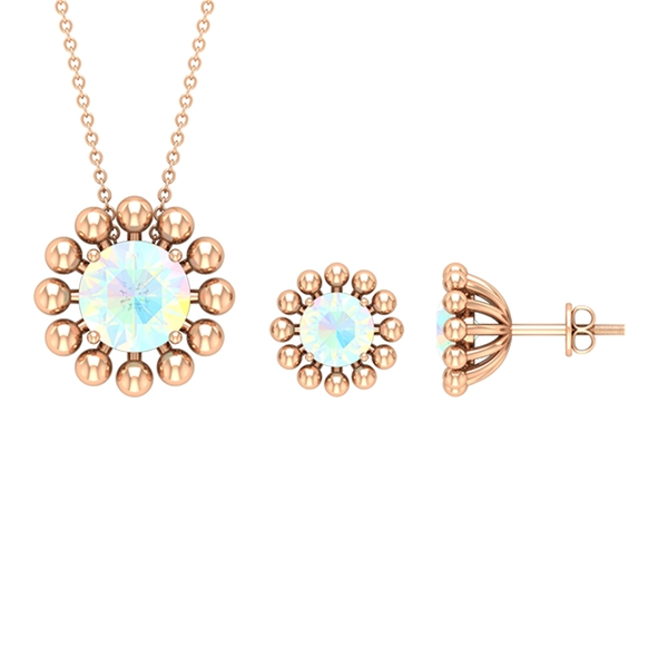 4.25 CT Ethopian Opal Solitaire and Gold Braided Jewelry Set
