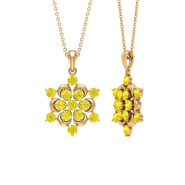 2 CT Contemporary Gold Flower Pendant Necklace with Yellow Sapphire