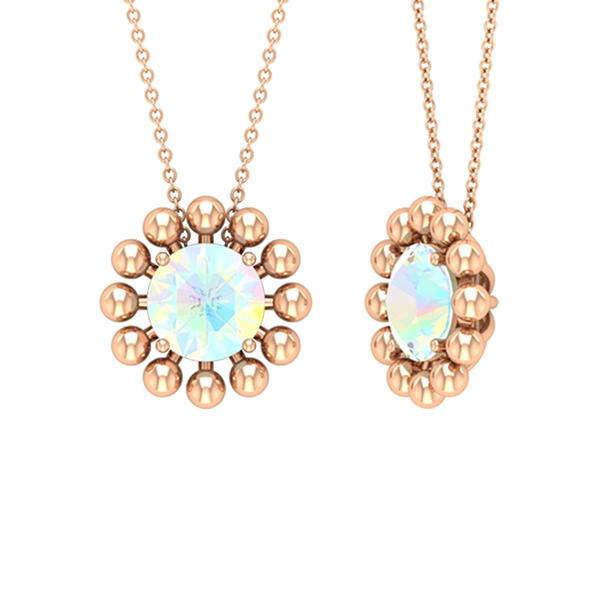 1.25 CT Ethopian Opal Solitaire and Gold Beaded Pendant Necklace