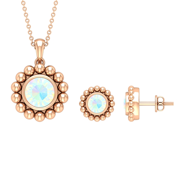1.25 CT Ethiopian Opal Solitaire and Beaded Gold Jewelry Set