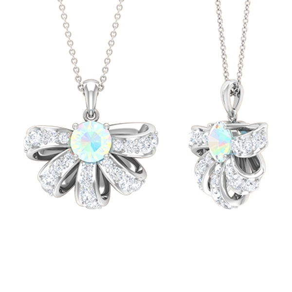 2.50 CT Half Flower Pendant Necklace with Ethiopian Opal and Diamond