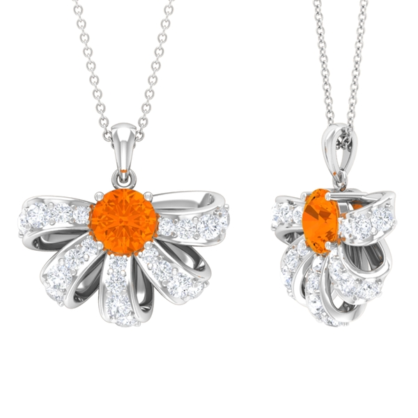 2.50 CT Half Flower Pendant Necklace with Fire Opal and Diamond