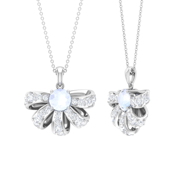 2.50 CT Half Flower Pendant Necklace with Moonstone and Diamond