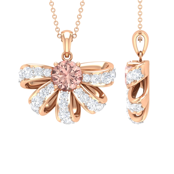 1.75 CT Half Flower Pendant Necklace with Morganite and Diamond