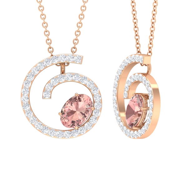 1 CT Contemporary Oval Cut Morganite and Diamond Swirl Pendant Necklace in Prong Setting