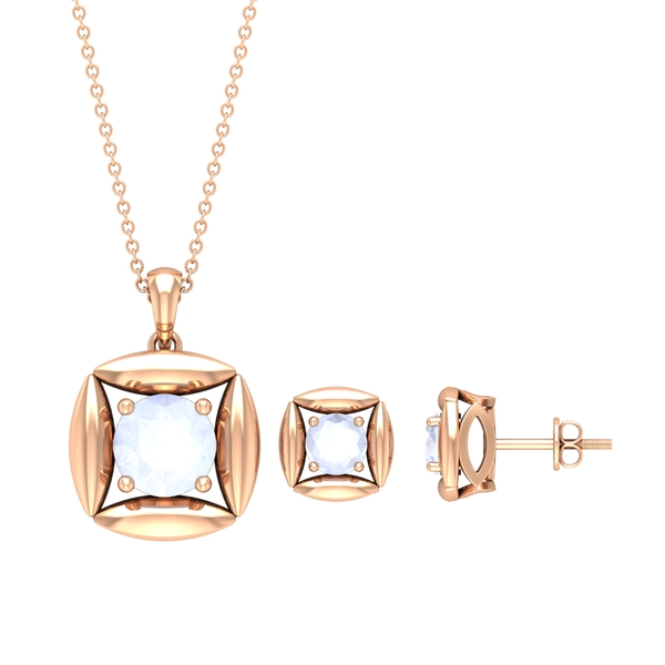 1.25 CT Minimal Moonstone and Gold Necklace and Earrings Set