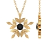1/4 CT Gold Engraved Flower Pendant Necklace with Solitaire Black Diamond
