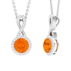 3/4 CT Fire Opal and Diamond Halo Infinity Pendant for Women
