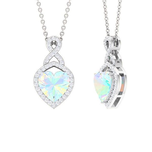 1.25 CT Heart Shape Ethiopian Opal Infinity Pendant Necklace with Diamond Accent
