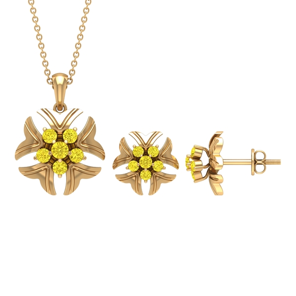 1 CT Yellow Sapphire Cluster and Gold Engraved Flower Jewelry Set