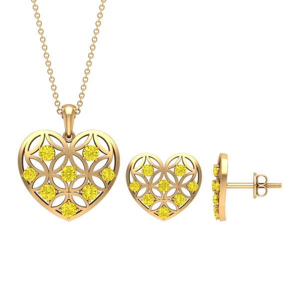 1.75 CT Yellow Sapphire and Gold Cut Out Heart Jewelry Set