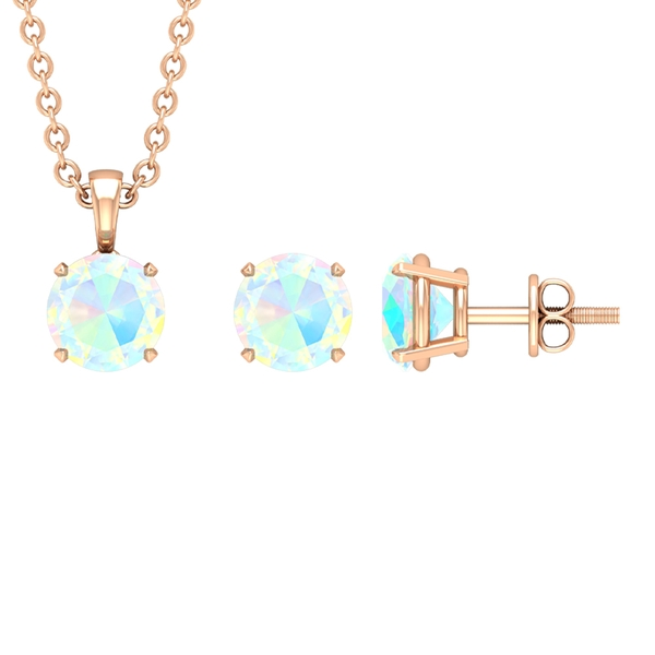 3/4 CT Round Cut Ethiopian Opal Solitaire Jewelry Set