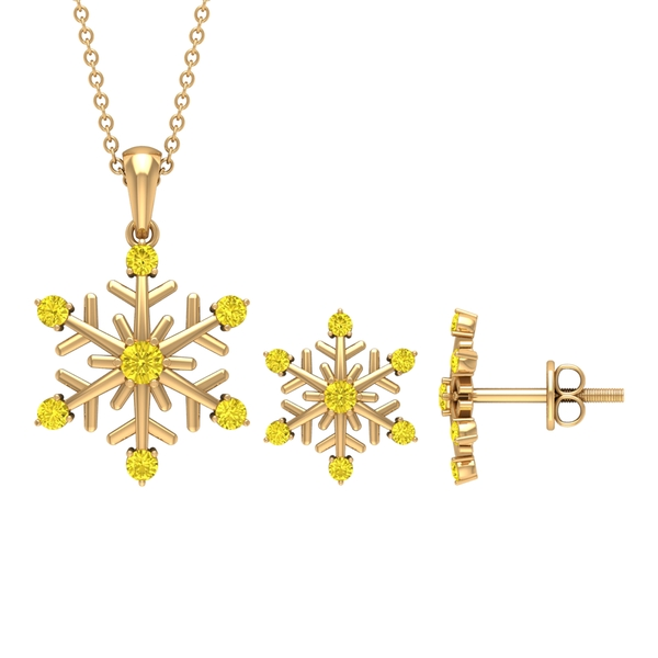 3/4 CT Simple Snowflake Jewelry Set with Yellow Sapphire