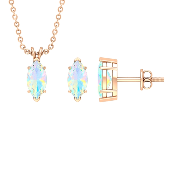 3/4 CT Marquise Cut Ethopian Opal Solitaire Jewelry Set