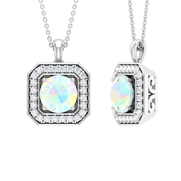 1.75 CT Vintage Inspired Ethiopian Opal and Moissanite Pendant Necklace