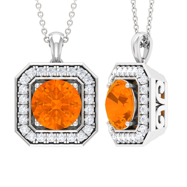 1.70 CT Vintage Inspired Fire Opal Pendant Necklace with Moissanite