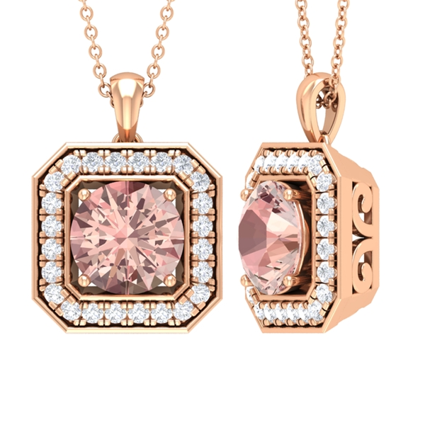 1.75 CT Vintage Inspired Morganite and Moissanite Pendant Necklace in Prong Setting