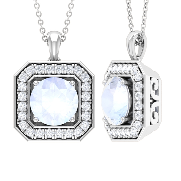Vintage Pendant with 1.75 CT Moonstone and Moissanite Accent