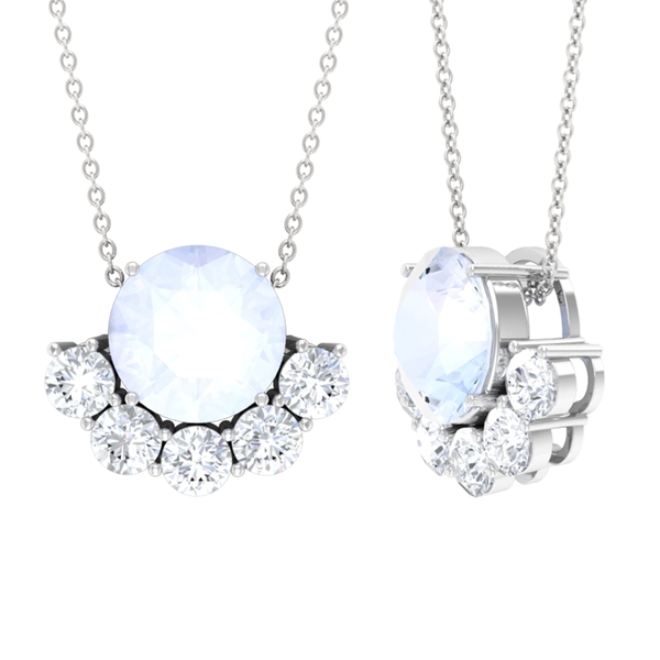 3 CT Moonstone Solitaire and Moissanite Half Halo Pendant Necklace