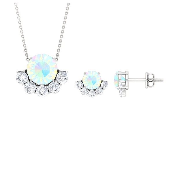 3.75 CT Solitaire Ethiopian Opal and Moissanite Half Halo Jewelry Set