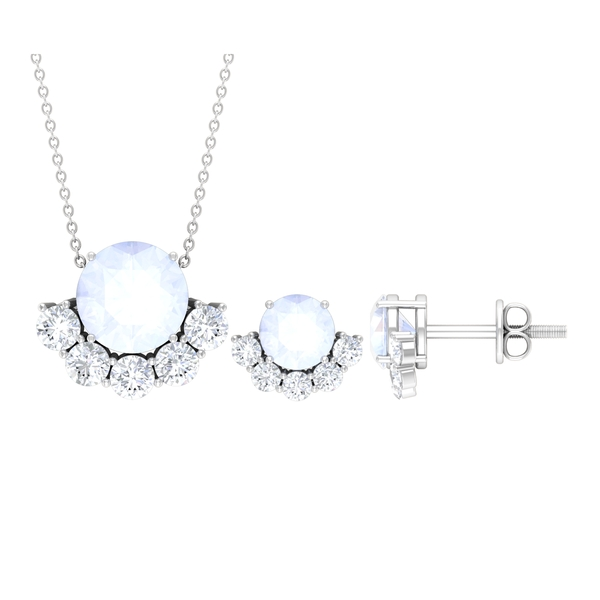Half Halo Jewelry Set with 3.75 CT Moonstone and Moissanite in Halo setting