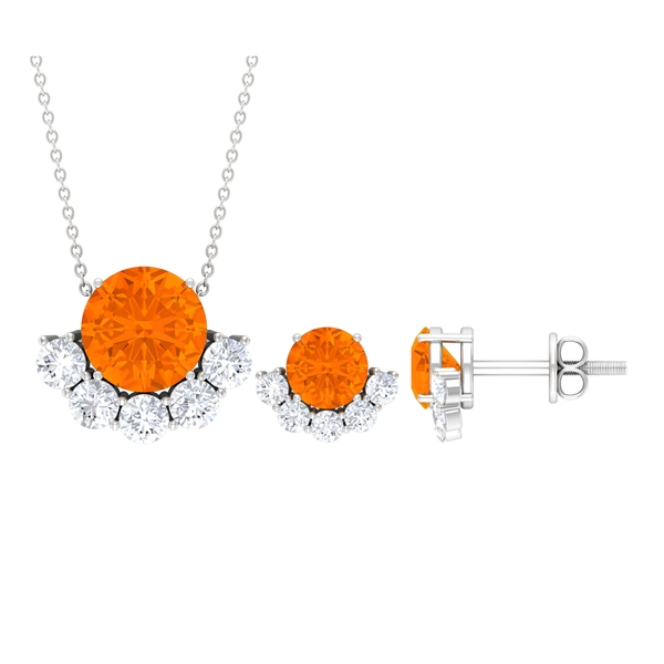 3.70 CT Solitaire Fire Opal and Moissanite Half Halo Pendant Earrings Set