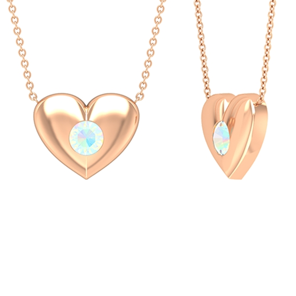1/2 CT Ethiopian Opal and Gold Heart Pendant Necklace