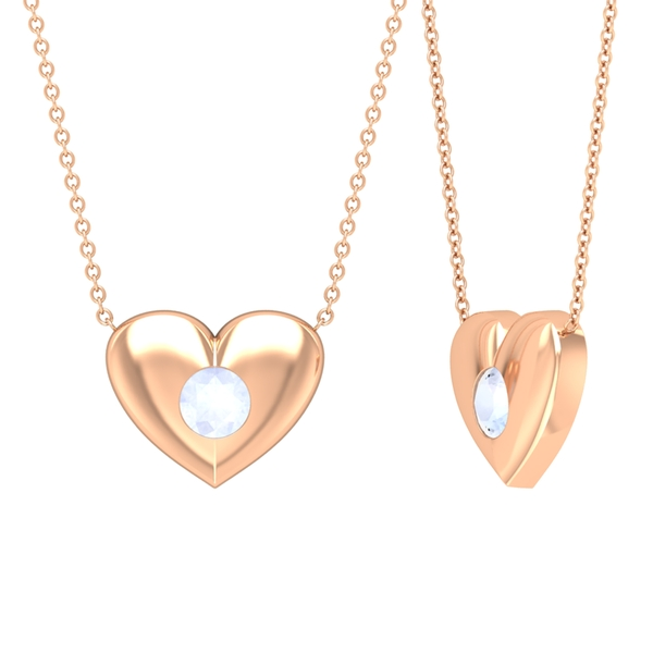 1/2 CT Moonstone and Gold Heart Pendant Necklace