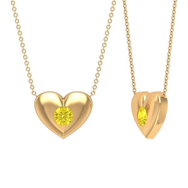 3/4 CT Yellow Sapphire and Gold Heart Pendant Necklace