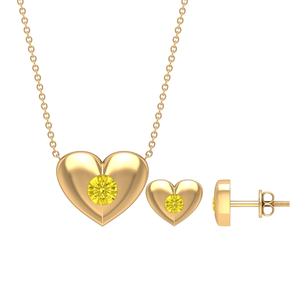 1 CT Yellow Sapphire and Gold Heart Jewelry Set