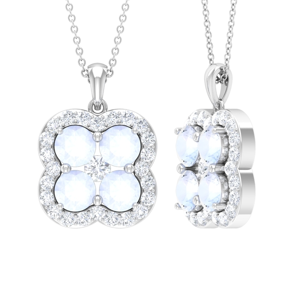 2.50 CT Moonstone Cluster and Diamond Accent Pendant Necklace