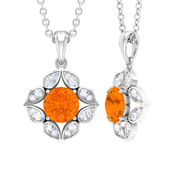 3/4 CT Art Deco Solitaire Pendant Necklace with Fire Opal and Diamond