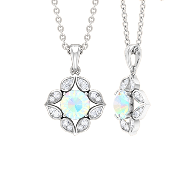 1/4 CT Art Deco Solitaire Pendant Necklace with Ethiopian Opal and Diamond