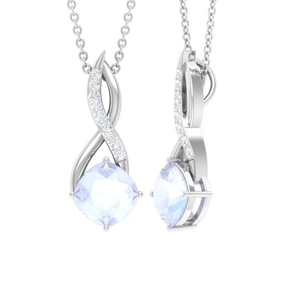 1.50 CT Infinity Pendant Necklace for Women with Moonstone Solitaire and Moissanite