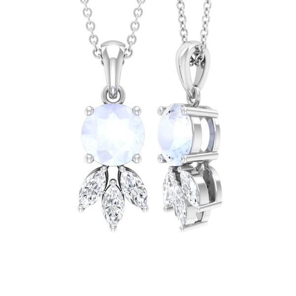 1 CT Dainty Moonstone Solitaire and Diamond Pendant Necklace