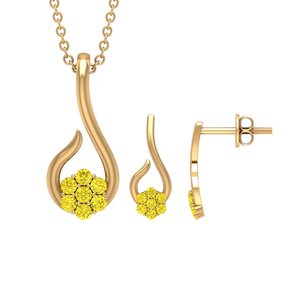 1/2 CT Fish Hook Necklace and Earring Set with Yellow Sapphire Floral