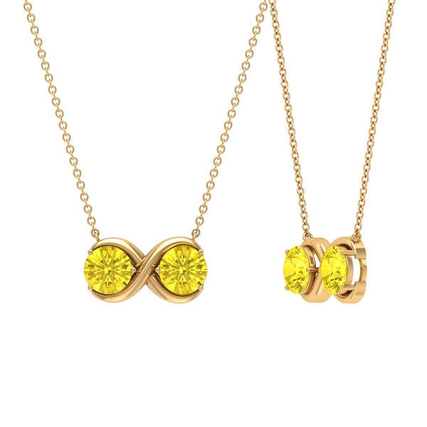 2 CT Simple Infinity Necklace with Yellow Sapphire