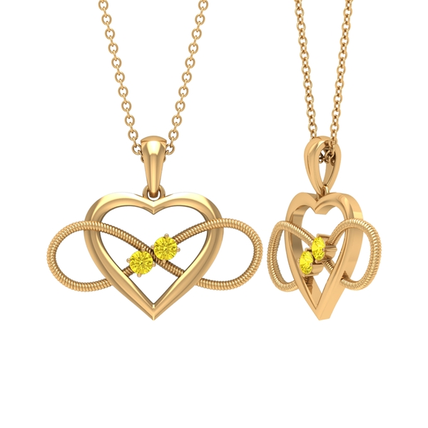 1/4 CT Unique Heart Infinity Pendant Necklace with Yellow Sapphire