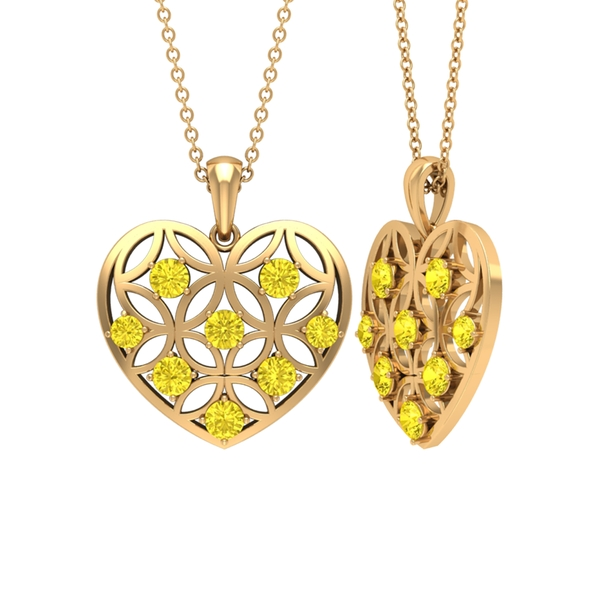 1 CT Yellow Sapphire and Gold Cut Out Heart Pendant Necklace