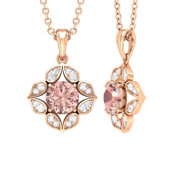 1/4 CT Art Deco Solitaire Pendant Necklace with Morganite and Diamond in Prong Setting