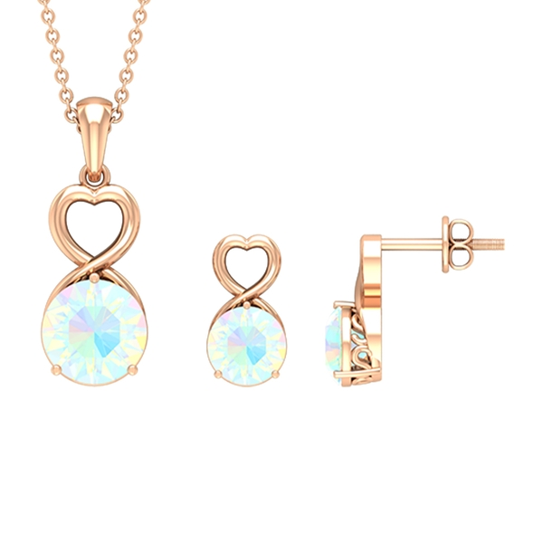 3.75 CT Ethopian Opal Solitaire Gold Heart Shape Jewelry set (AAA Quality)