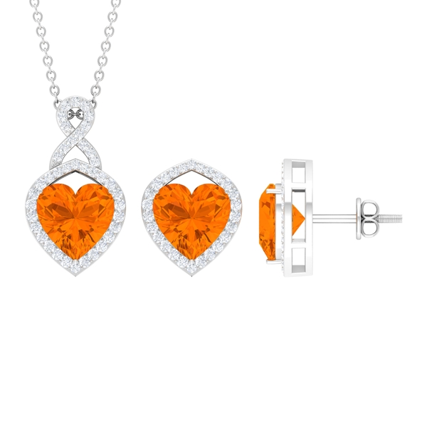 6.50 CT Diamond Infinity Jewelry Set with Heart Shape Fire Opal Solitaire